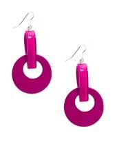 Resin Door Knocker Earrings In Hot Pink