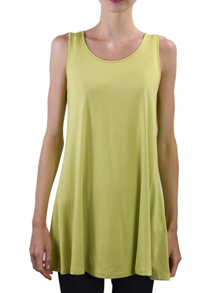 Comfy Sleeveless Tunic In Chartreuse