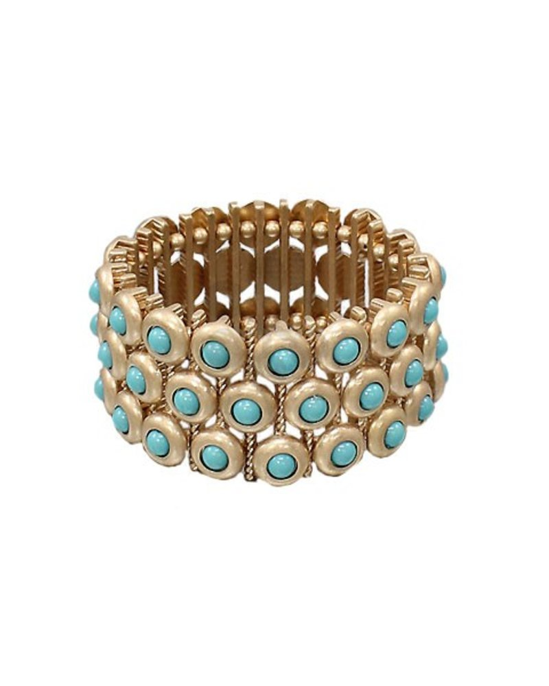 Matte Gold & Turquoise Bezel Stretch Bracelet
