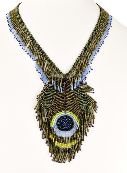 Handmade Peacock Feather Necklace