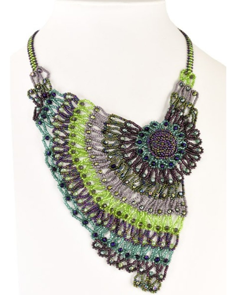 Handmade Beaded Moonlight Necklace In Purple