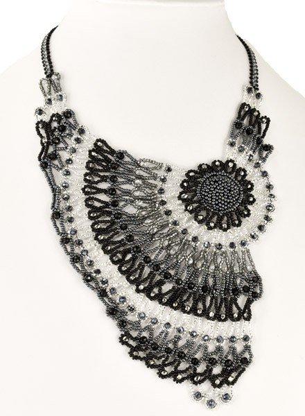 Handmade Beaded Moonlight Necklace In Black