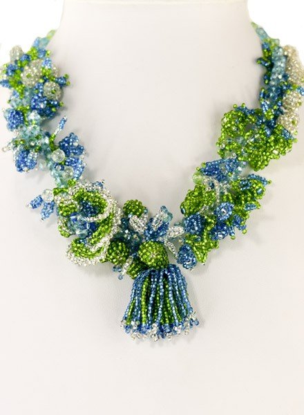 Handmade Beaded Tropicana Necklace In Turquoise