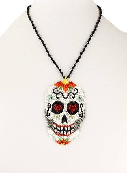 Handmade Beaded Day Of The Dead Necklace