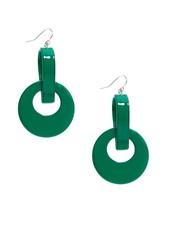 Resin Door Knocker Earrings In Deep Green