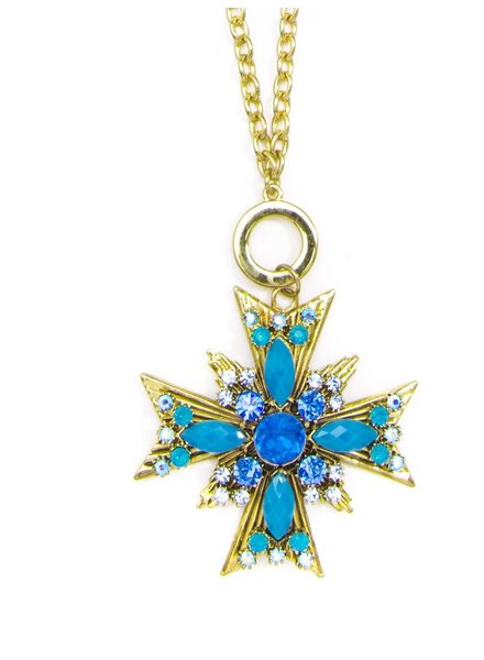 Crossed Starburst Pendant Necklace In Cobalt