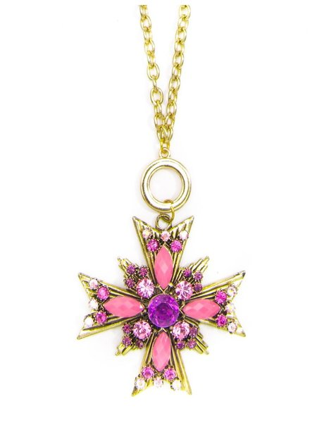 Crossed Starburst Pendant Necklace In Pink
