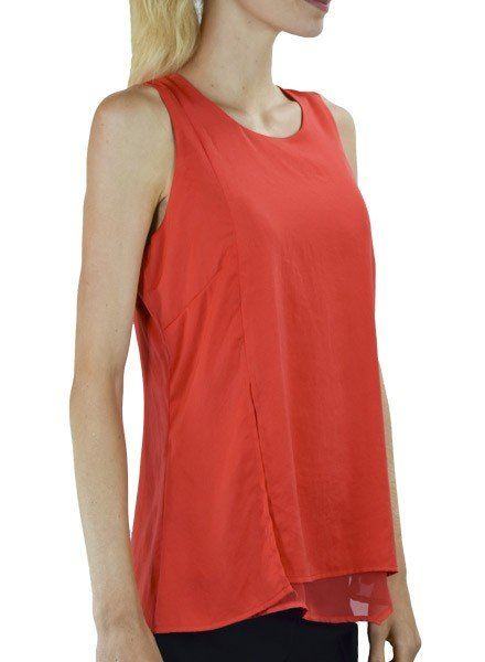 Renuar Renuar's Sheer Hem Sleeveless Top In Tomato