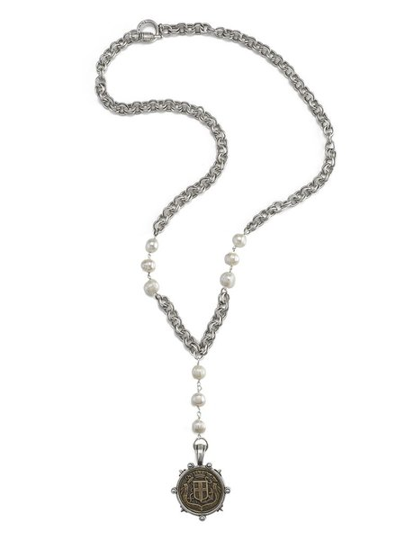 French Kande French Kande Peal & Silver Provence Chain With Fabre Medallion