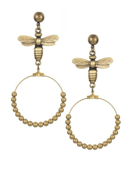 French Kande French Kande Brass Hoop Earrings With Gold Plated Hematite & Meil Pendants