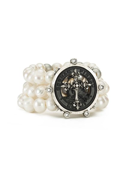 French Kande French Kande Triple Pearls Bracelet With Pineau Cross Stacked Medallion