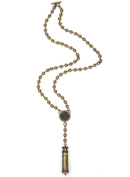 French Kande Brass Metal Bead & Wire, Black Joan Medallion & Chemin De Fer Pendant