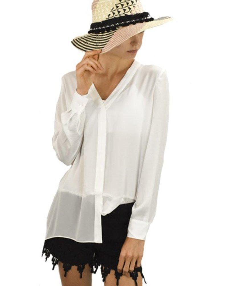 Renuar Renuar's Chiffon Hemline Blouse In White