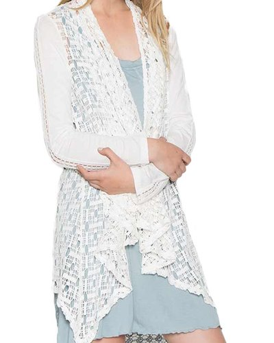 Crochet Jacket In White Shady And Katie