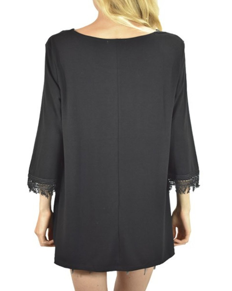 Fringe Sleeve Tunic Top In Black