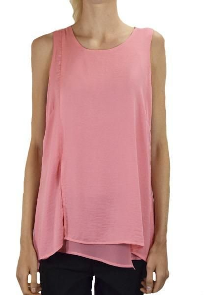 Renuar Renuar's Sheer Hem Sleeveless Top In Coral