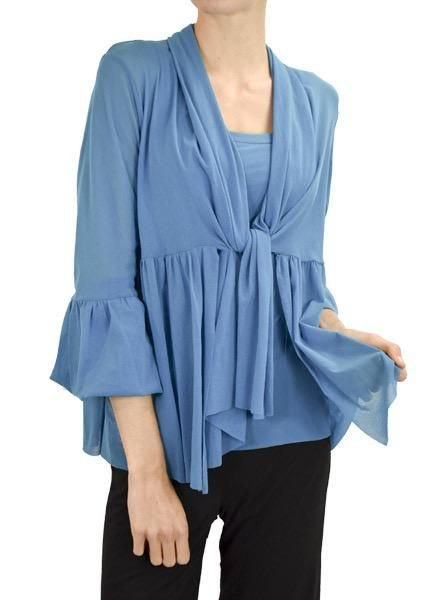 Petit Pois Easy-Bell Tie Cardi In Sapphire