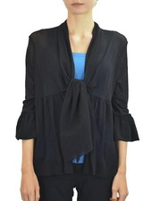 Petit Pois Easy-Bell Tie Cardi In Black