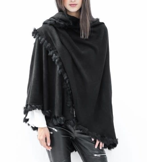 Cape with Rabbit Fur Hem