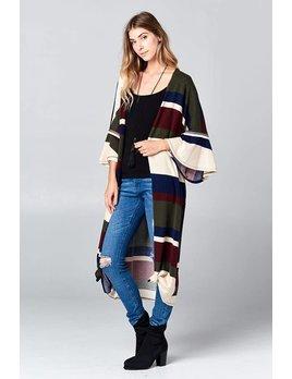 Stripe Flare Sleeve Long Cardigan