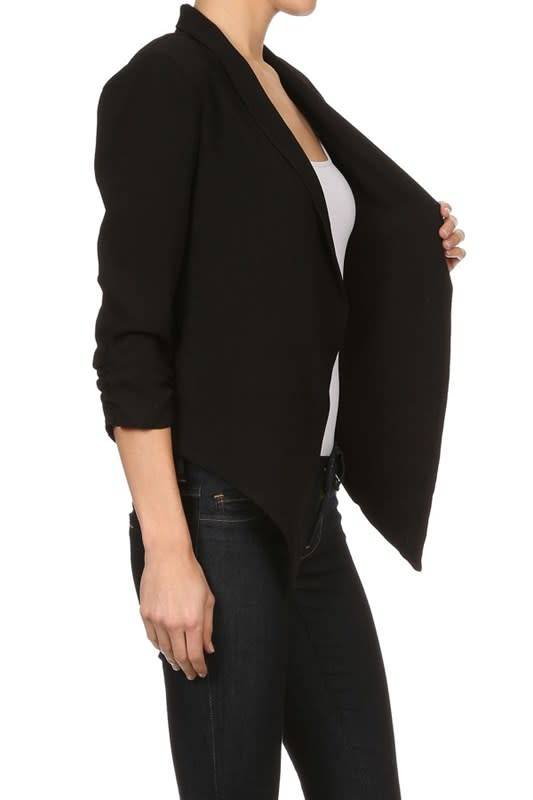 Open Blazer with Ruched 3/4 Sleeve PLUS