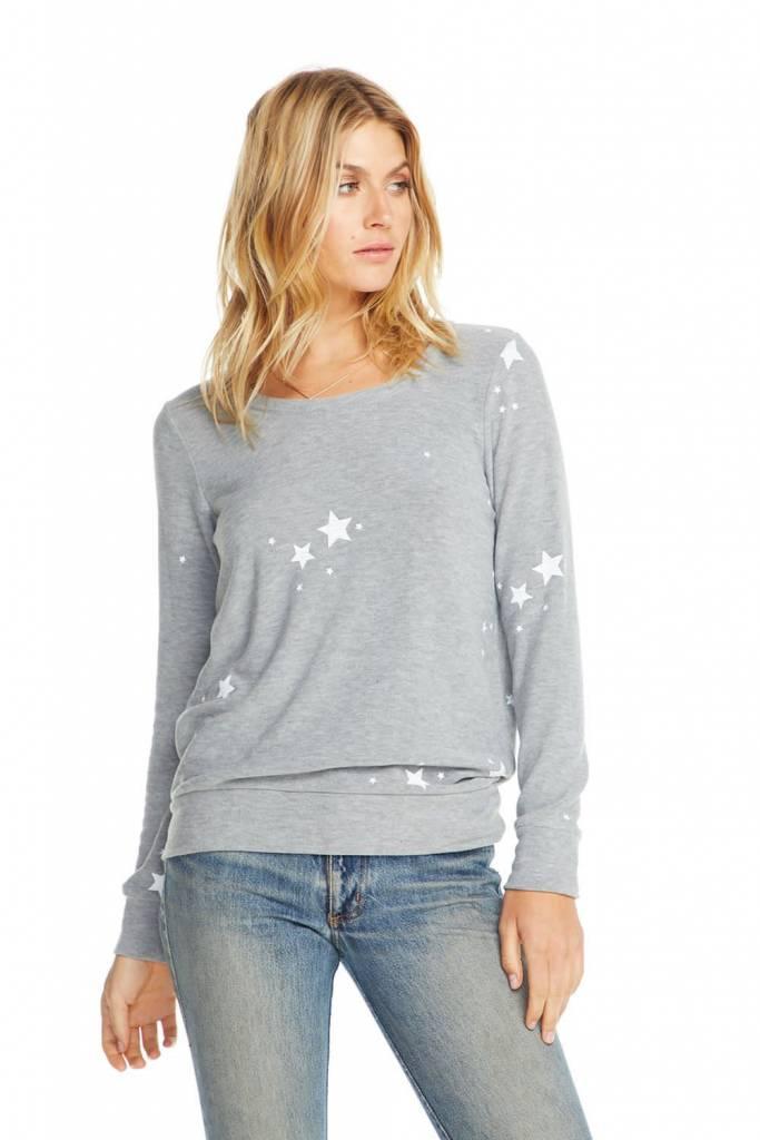 Cozy Knit Pullover Sweatshirt White Star