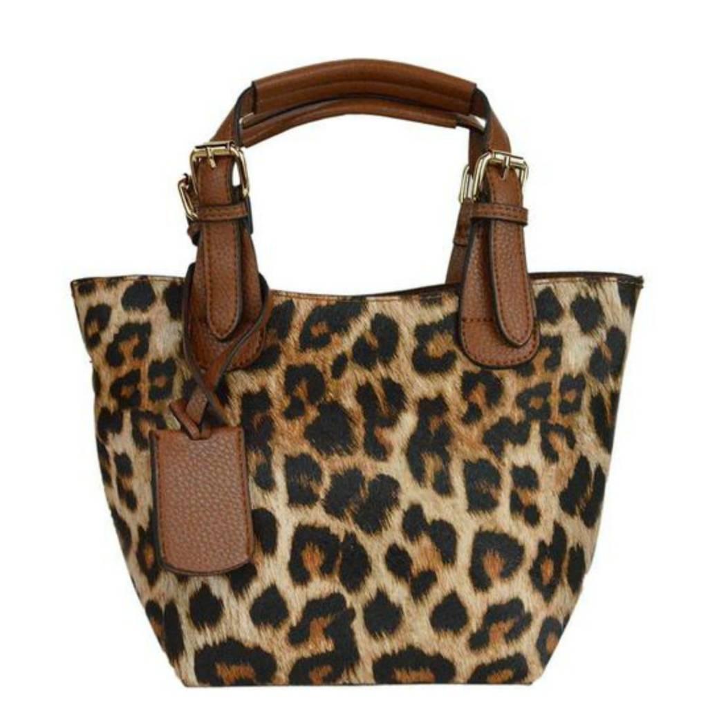 Ahdorned Leopard Bucket Bag