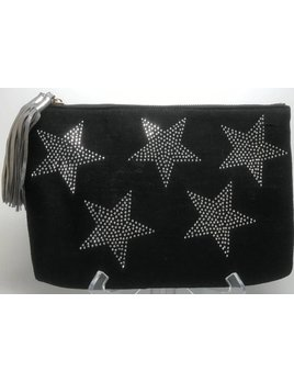 Ahdorned Linen Clutch with Crystal Stars