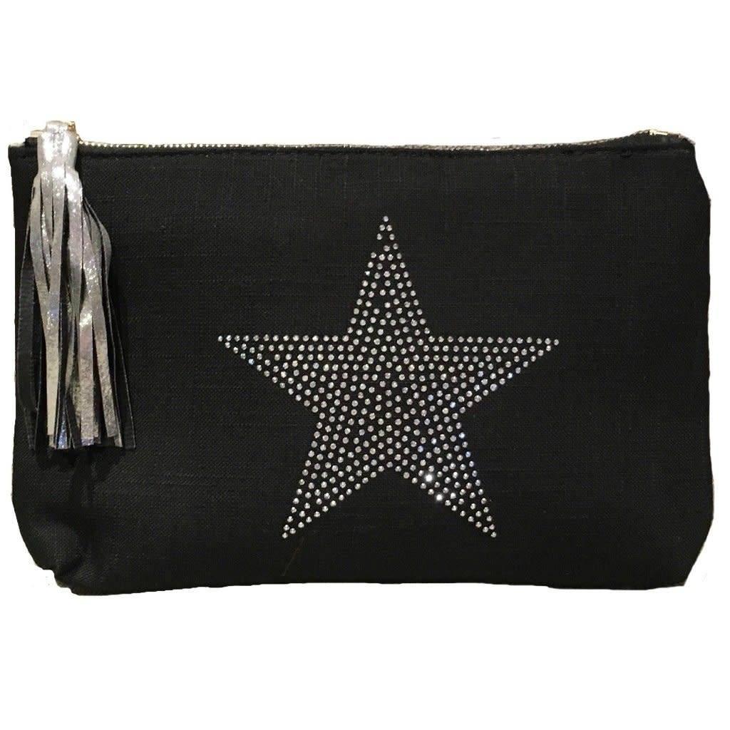Ahdorned Linen Star Clutch