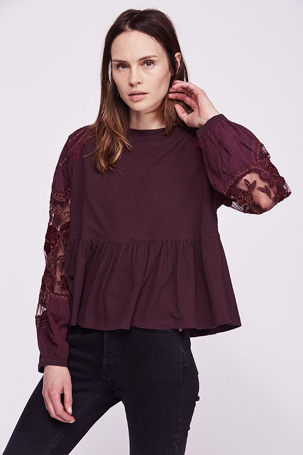 Lace Embroidered Detail Top
