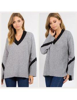 Contrast Color V Neck Sweater