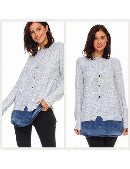 Knit Sweater with Denim Hem