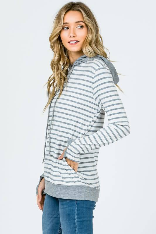 Stripe Hoodie with Thumb Holes