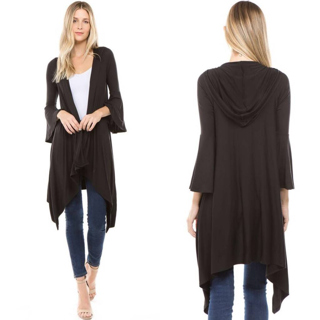 Bell Sleeve Hooded Cardigan