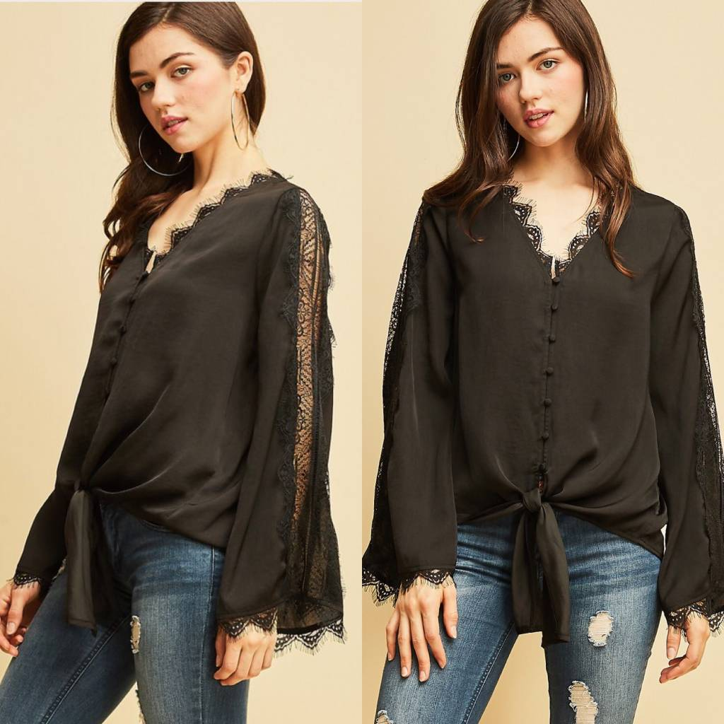 Button Up V Neck Lace Detail Top