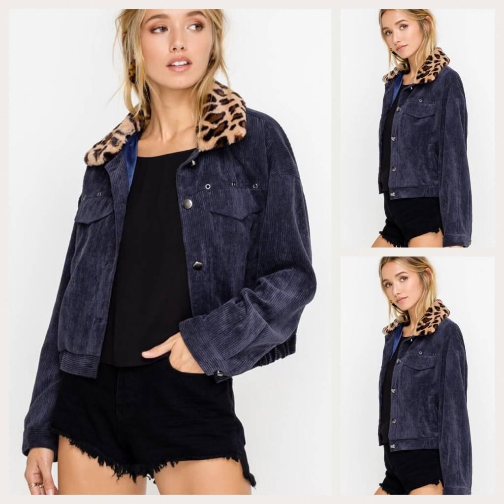 Corduroy Jacket With Animal Print Collar