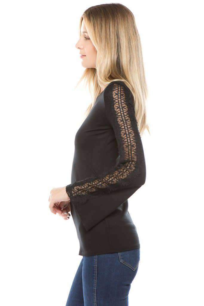 Bell Sleeve Top with Lace Detail