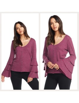 Crossover Tiered Sleeve Cardigan