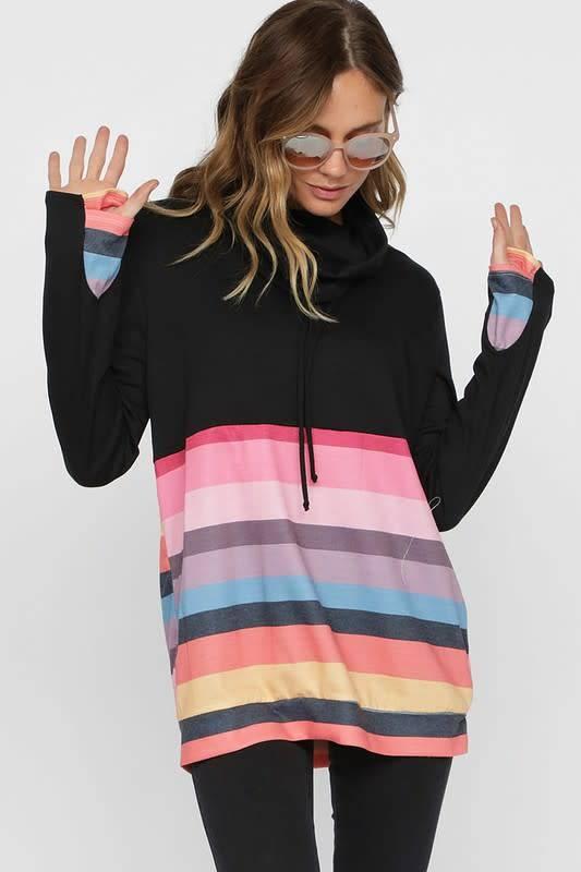 Thumb Hole Cowl Rainbow Top