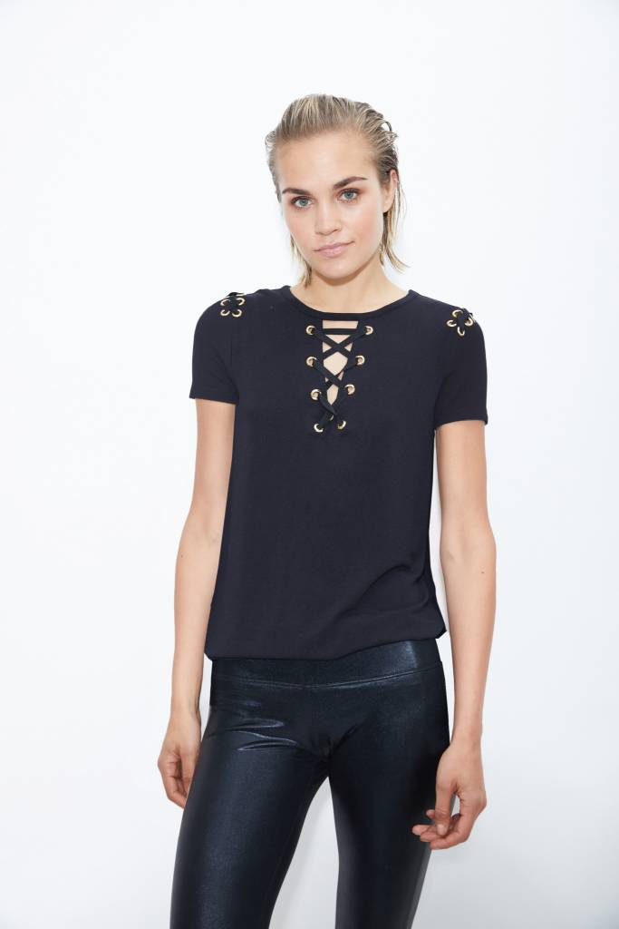 Short Sleeve Lace Up Top With Gold Grommets