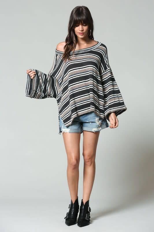 Oversized Stripe Bell Sleeve Top