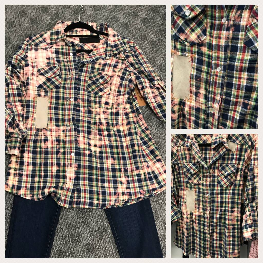 Tie Dye Flannel with Patches