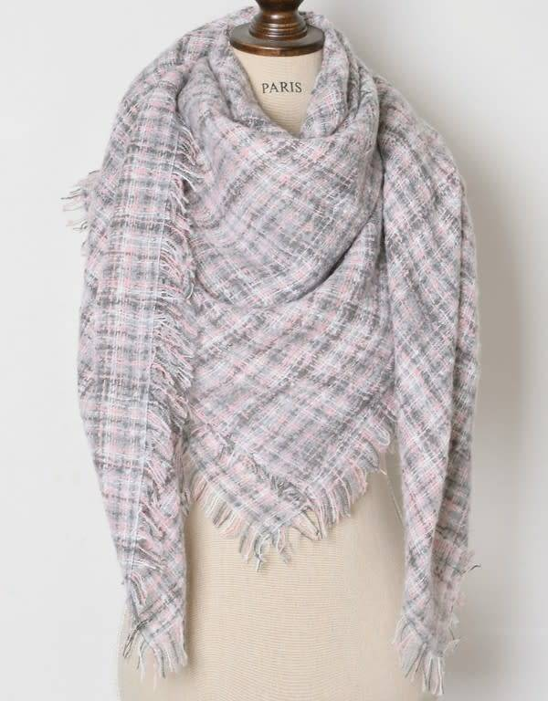 Blanket Size Plaid Check Scarf