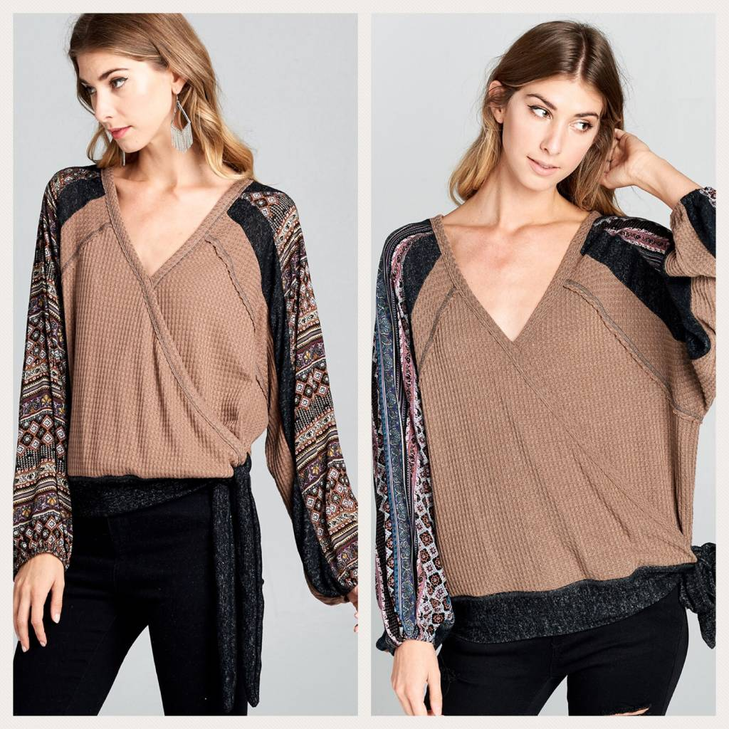 V Neck Top with Multi Fabric Sleeves