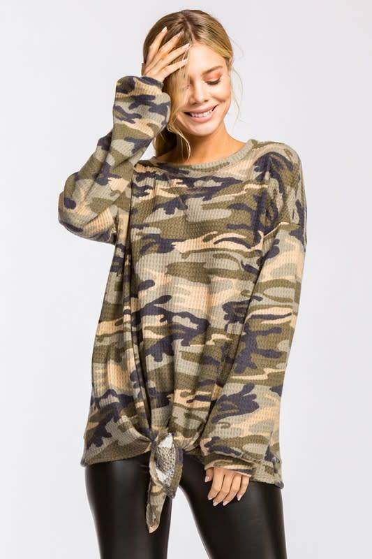 Camouflage Waffle Top with Tie Bottom