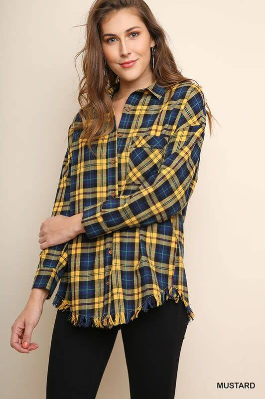 Plaid Button Down With Frayed Hem