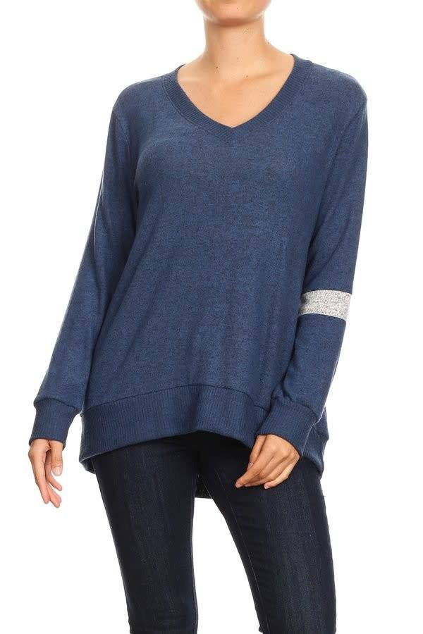 V Neck Top With Stripe Detail Sleeve