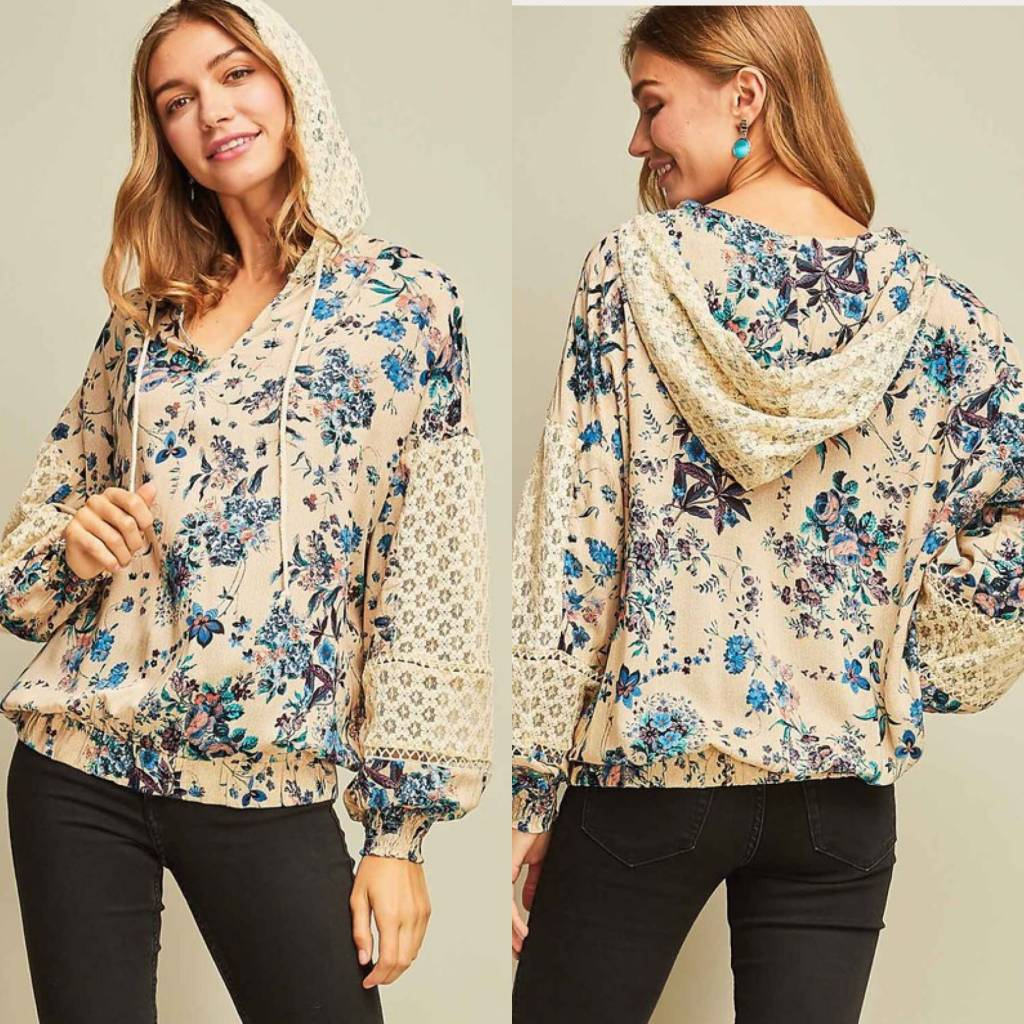 Floral Print Top With Lace Detail