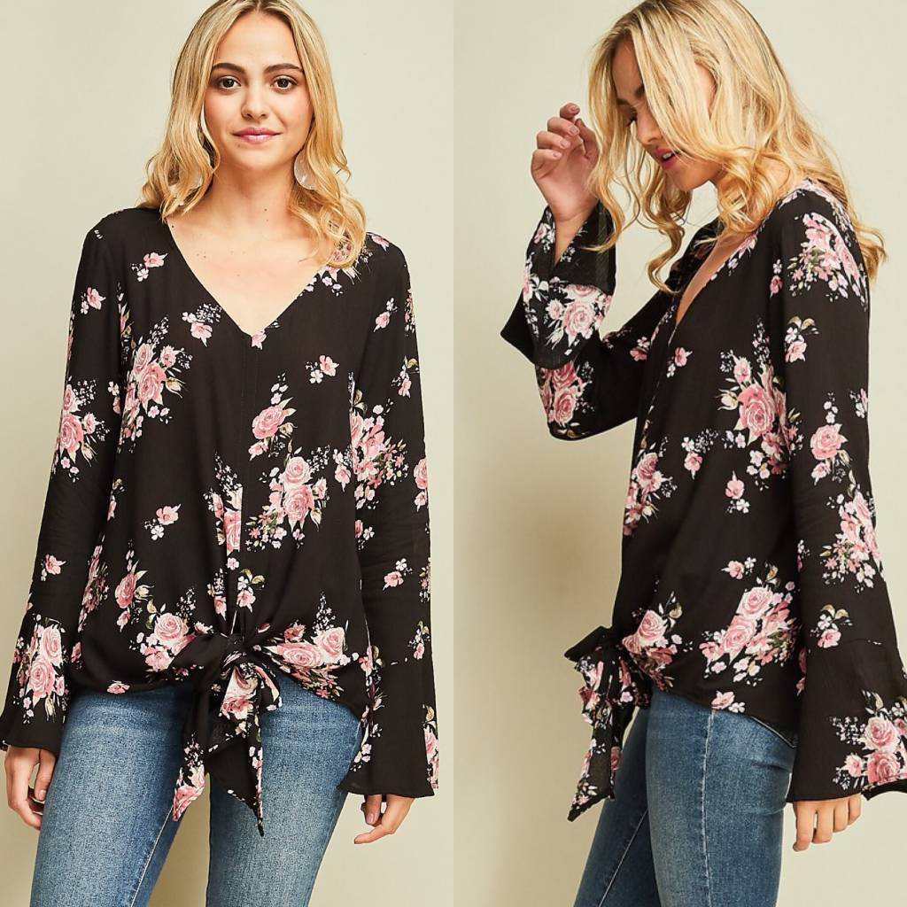 Floral Print Top With Tie Front Hem