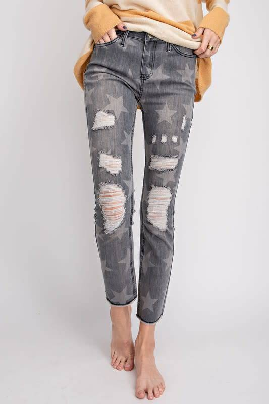 Distressed Star Jeans